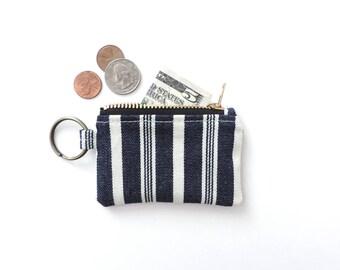 Keychain Coin Purse Blue Stripe