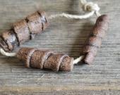 Rustic ceramic tube beads - Ceramic beads - Tube beads - Rustic beads - Rustic ceramic beads - Ceramic tube beads [744]