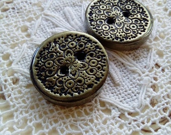 Pair of gold polymer clay buttons, ornate buttons, handmade buttons, unique buttons, scrapbooking, sewing, knitting, round buttons, crafts