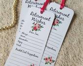 Set of 8 Retirement Wishing Tree Tags / Bookmarks / Retirement Party Idea / Retirement Cards / Retirement Wish Cards / Pink flowers