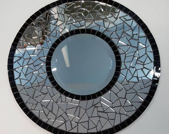 Stained Glass Mosaic Mirror, Round Mosaic Mirror, Mosaic Mirror, Stained Glass Mirror, Mosaic Art, #607R