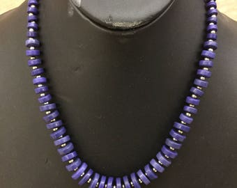 Purple dyed slab turquoise and sterling plated bead necklace.