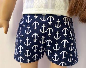 Sailor shorts. 18 inch doll anchor print shorts. American girl doll clothing.