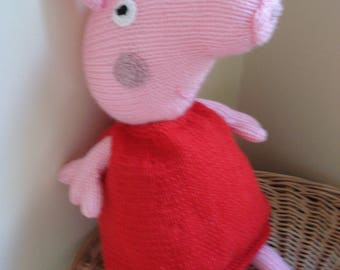 SALE*  Hand Knitted Peppa Pig Toy