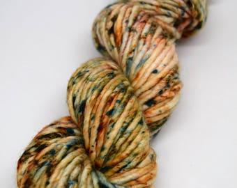 Sound of the Sea, hand dyed yarn, hand painted yarn, superwash merino yarn, kettle dyed yarn, bulky, super bulky, speckled yarn, speckles