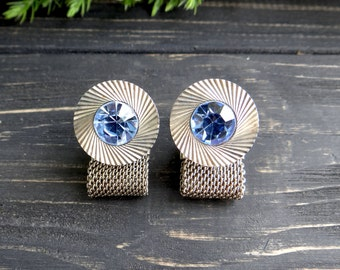 Vintage cufflinks father/of/the/bride gift Blue silver tone cuff links father/of/the/groom gift fathers day gift something blue rhinestone