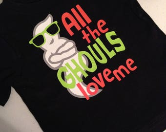 Toddler Boy All The Ghouls Love Me T-Shirt - Glow In The Dark Ghost Halloween Top - Short Sleeve or Long Sleeve - Many Colors - Customized