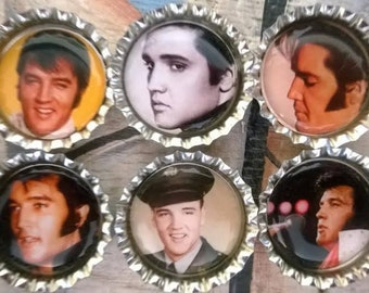 Six Vintage Elvis Magnets on Silver Bottle Caps