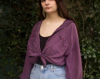 Silk Purple Long Sleeve Button Up Top