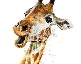 Giraffe print on paper drawing illustration, animal painting mixed media (paint, pastels, pencils...).