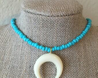 Horn & Turquoise Beaded Choker