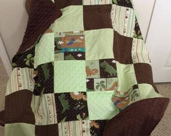 Dinosaur Baby Blanket/Minky/Brown & Green