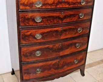 stunning vintage Flame Mahogany Men's Tall Chest Dresser locking top drawer key, Insured safe nationwide delivery available