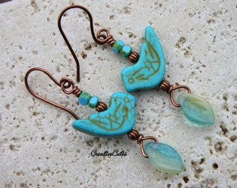 Turquoise Bird Earrings Unique Boho Earrings Czech Glass Leaf Beads Blue Bird Dangles Artisan Copper Earrings Urban Chic Nature Jewelry