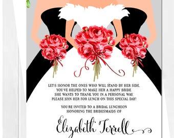 Wedding Dress Invitation | Bridal Shower Invitation | Bridesmaids Luncheon Invitation | Bridal Tea | Bridal Brunch | Invitation | Bouquet