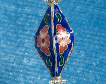 Blue Floral Cloisonné (Enamel) Oval and Silver Hat Pin. Made in Oregon