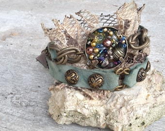 Unique bohemian bracelet, lace leather cuff, green leather bracelet, boho chic jewelry, studded boho bracelet, leather wrap bracelet