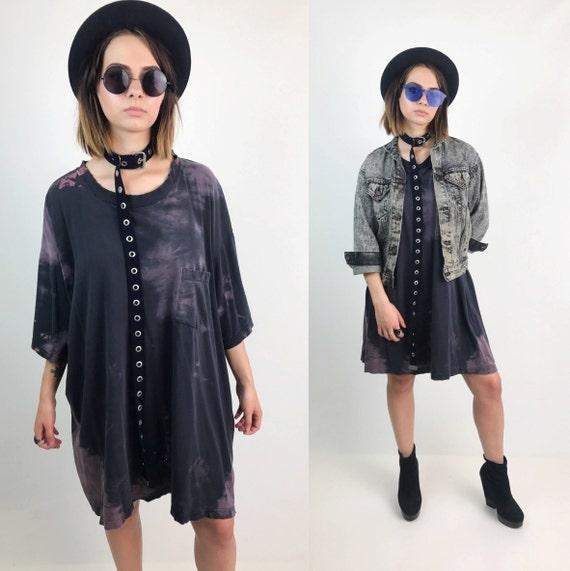 Distressed Tie Dye Bleached Holey Vintage T-Shirt/Dress 4XL Unisex - Amethyst Purple Goth Grunge Holey Baggy Long Tall Plus Size Streetwear