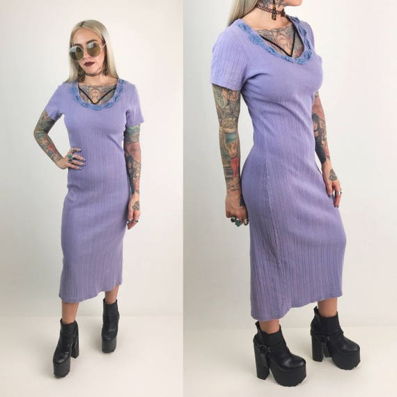 90's Lilac Purple Ribbed Cotton Midi Dress Small - Pastel Grunge Bodycon Dress Comfy Cotton Stretch T-shirt Dress Scoop Neck Casual VTG 90s