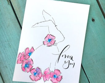 """8x6 Original Hand Lettered Watercolor Sketch """"Some Bunny Loves You"""""""