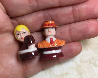 ROARING TWENTIES Flapper Couple Fashionable Man Woman - French Feve Feves Figurines Doll House Miniatures N288