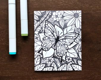 Butterfly Coloring Card - Greeting Card