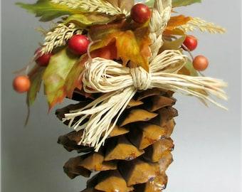 "Fall Pine Cone Pomander, Autumn Maple Leaves, Wheat, Berries, Braided Raffia Handle, Alternative Flower Girl Accessory, ""Gather"""