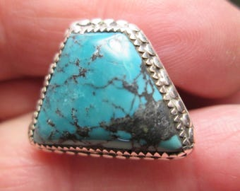 Ring, size 8..sterling silver... turquoise...