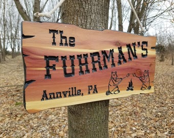 Camping Signs RV Signs Personalizedized Cedar Camping Signs Campsite Sign Custom Wooden Camper Signs Camper Sign Wooden Signs Cedar 543