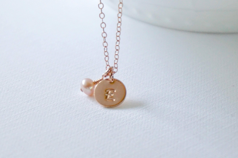 Rose gold letter necklace gold filled charm letter for Rose gold letter charms