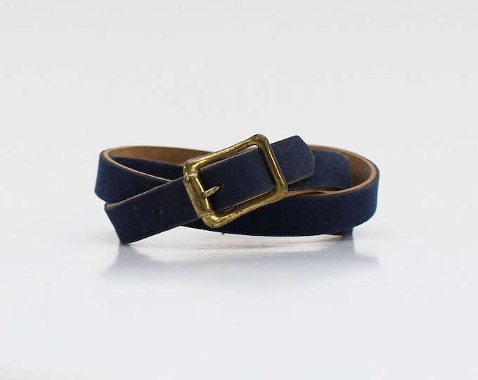 Vintage 1980s Navy Suede Skinny Belt - 32 Inches