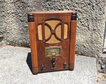 1936 RCA 6T Tombstone AM Shortwave Art Deco Radio, Elec Restored
