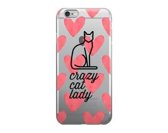 Crazy Cat Lady iPhone Case | iPhone 7, 7 Plus, 6/6s, 6/6s Plus, 5 | Cat Phone Case, Heart Phone Case, Cat Lover Phone Case, Cat iPhone