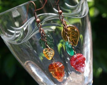3 leaf, multicolored glass earrings with copper chain (E5)
