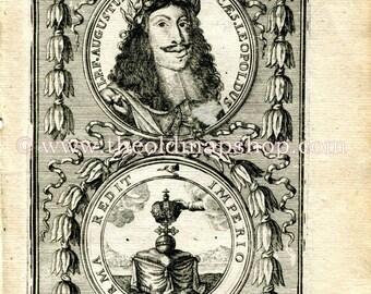1683 Manesson Mallet Leopold I, Holy Roman Emperor, Archduke of Austria, Antique Print, Engraving