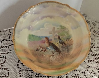 Free Shipping Antique B T and Co. Germany Porcelain  2 Game Birds with Chicks Serving Bowl Gold Trim Clouds and Field Scene Lusterware