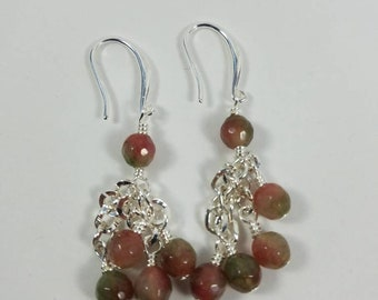 Gemstone and silver cluster dangle earrings