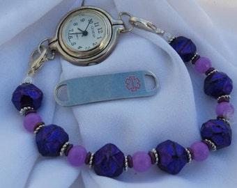 Interchangeable Medical Alert ID Tag or Watch Bracelet Stretchy Beaded Bracelet