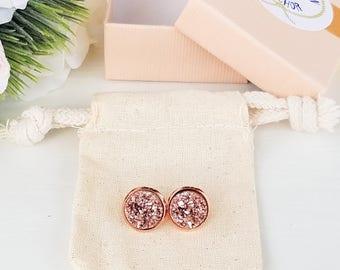 Stud earrings, bridesmaid gift, rose gold druzy, rose gold druzy earrings, bridal party gift, druzy stud earrings, druzy earrings, druzy