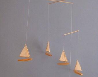 Handmade Wooden Sailboat Mobile