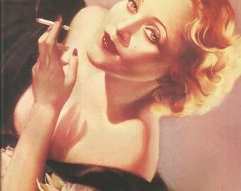 Alberto Vargas 1933 Marlene Dietrich Lady Smoking Cigarettes Risque Fashion Illustration Art Deco Home Decor Print Fine Art