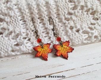 Polymer Clay Maple Leaf Earrings, Autumn Fall Leaf Handmade Accessories