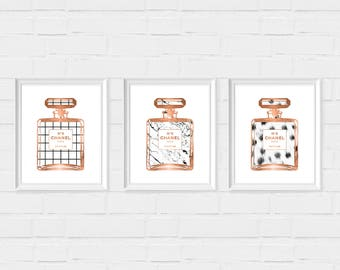 Set of 3 Chanel Prints - Digital Download Instant Print - Black White Marble Print - Coco Chanel - Rose Gold Art Print - Chanel Wall Decor