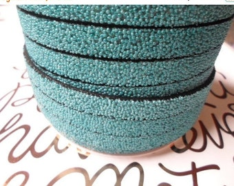 "8"" Turquoise Caviar Sparkle 10mm Flat Synthetic Leather,"