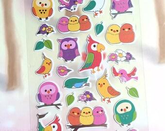 cute bird owl sticker wild bird parrot budgie parakeet love bird baby owl stickers bird theme fariytale bird colorful bird planner sticker