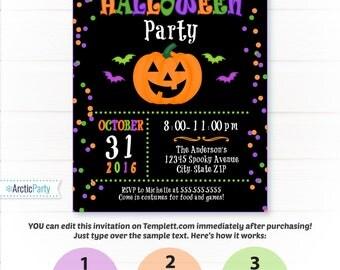 halloween party invitation halloween invitation kids halloween invitations halloween party supplies instant - Kids Halloween Party Invite