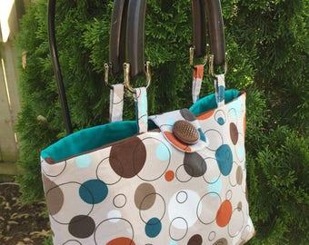 Brown & Teal Bubbled Handbag