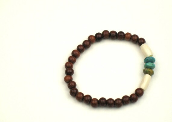 Ebony Wood Stretch Bracelet with Bone and Genuine Turquoise Beads, Boho Bracelet, Wood Jewelry