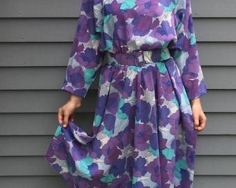 1980s Large Floral Print Dress
