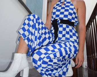 Blue and White Racing Checkered Jumpsuit